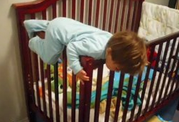 Baby escaping crib