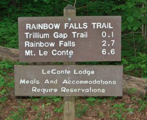 Rainbow Falls Trail Sign