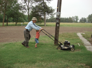 Lawnmower father son